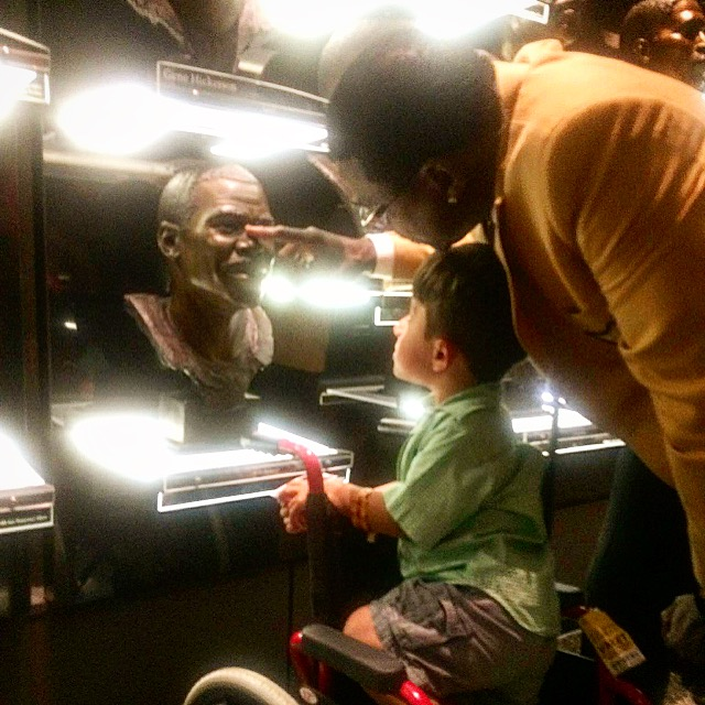 Hall of Fame 11) Michael showing Xavier his 2007 Hall of Fame bust