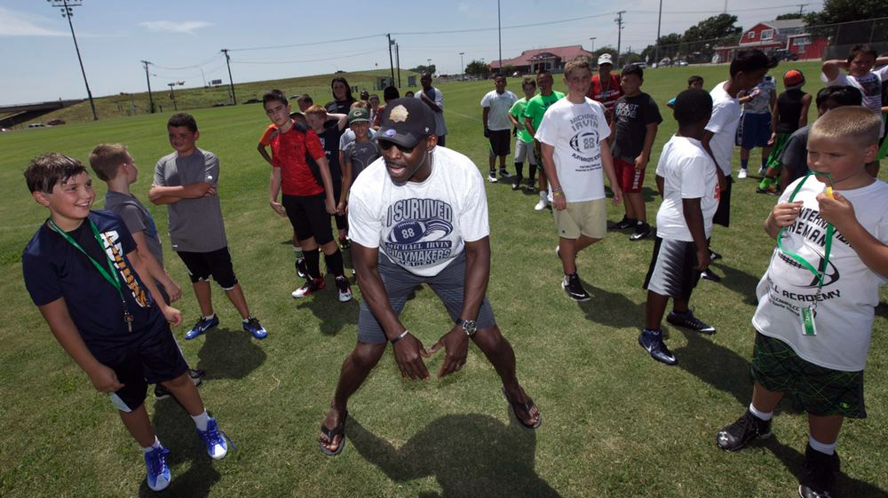 Michael Irvin at the Playmakers Academy Training Camp, 2016